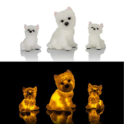 Hundemama mit ihren beiden Welpen - LED Echtwachskerzen, Motivkerzen inkl. Timer und Flackereffekt -
