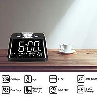ساعات منبه ذكية من Goolsky لغرفة النوم بمنبه رقمي بضوء ليلي مع راديو FM قابل للتعديل عداد درجة الحرارة