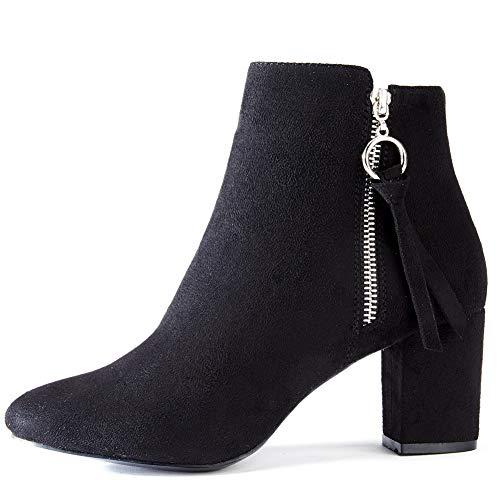 Scarpe Invernali da Donna con Tacco Alto - Comode Stivaletti con Zip a27048ec4d0