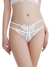Femmes Sexy Culotte String Slip en Dentelle Ouvert à l entrejambe  Transparent Érotique Taille Basse 81eab457842