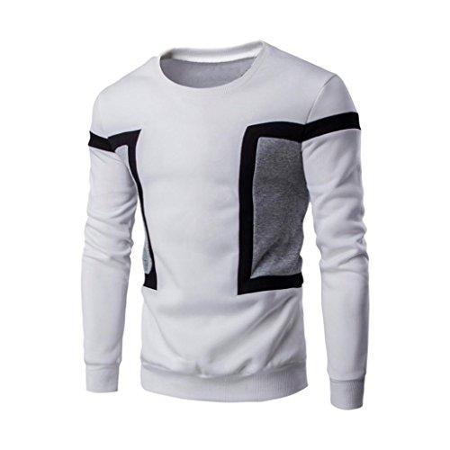 Luckycat Herren Langarm Patchwork Hoodie Sweatshirt Tops Jacke Mantel Outwear Langarm Pullover (Weiß, EU 52-XL)