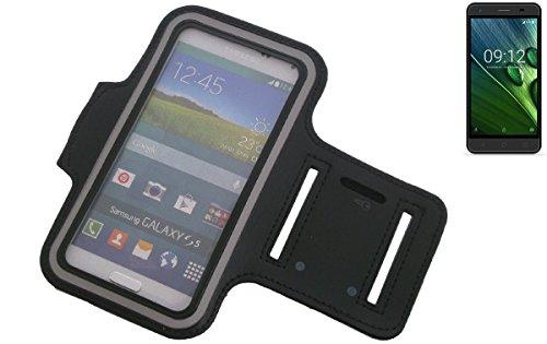 K-S-Trade per Acer Liquid Z6 E Montare Neoprene Bracciale Jogging Case Sport Armband Involucro per Acer Liquid Z6 E Nero | con riflettore, con l'assunzione di Cuffie/Auricolari