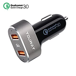 YOUWAY KFZ Ladegerät Adapter, Quick Charge 3.0 36 W Rapid Dual USB Anschlüsse für iPhone X/8/7//6S/Plus/SE, iPad Pro/Air 2, Samsung Galaxy Note S8/S7/Edge/Plus, HTC, LG, Sony und mehr – Space Grey