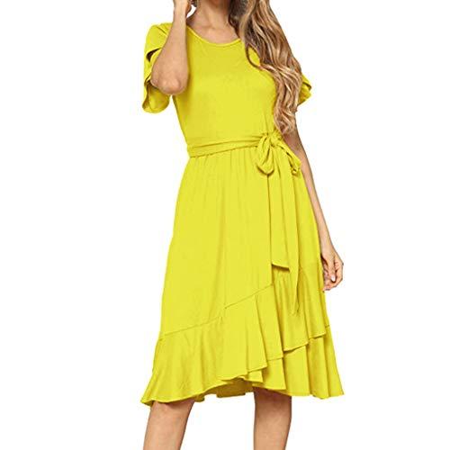 Strandkleid Frau Sommer Flüssigkeit Freizeitkleid Kurzarm Knielanges Kleid Mit Gürtel Komfort(gelb,M) ()