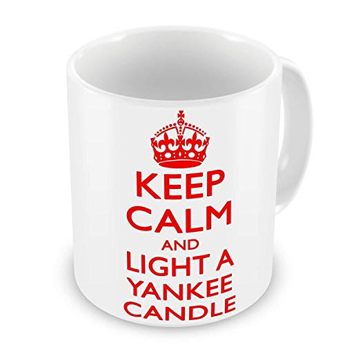 Keep Calm And Light A Yankee Candle Novelty Gift Mug - Red