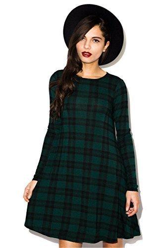 Da donna rosso verde con motivo scozzese a scacchi stampa a maniche lunghe Swing Skater vestito Plus Size8-26