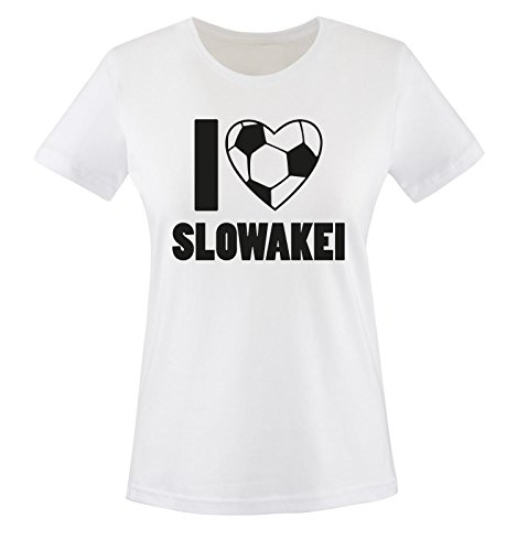 Slowakei Flagge T-shirt (I Love SLOWAKEI - Damen T-Shirt - Weiss/Schwarz Gr. S)