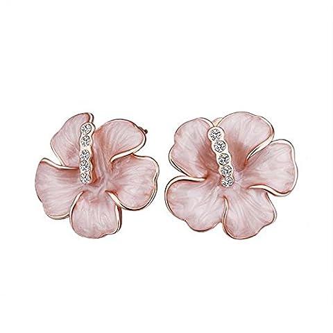 BODYA Hawaiian Enamel Flower Plumeria Earrings Studs Rose Gold Women cubic Zirconia crystal Jewelry