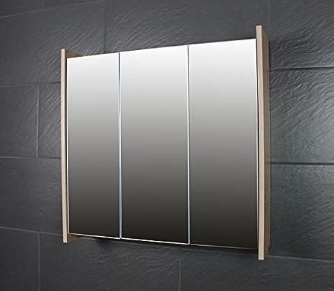 Galdem FROSTI Spiegelschrank 70cm Badezimmerschrank Wandschrank Badmöbel 3 Spiegeltüren 6 Einlegeböden Sonoma
