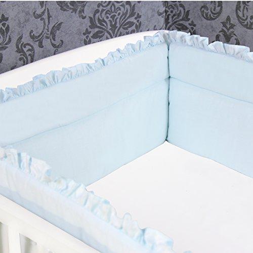 Bettumrandung Nestchen Kopfschutz 420x30 cm Bettnestchen Baby Einfarbig Blau mit Rüschen NEU