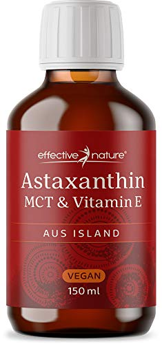 effective nature Astaxanthin flüssig mit MCT & Vitamin E | 4 mg Astaxanthin pro Tagesdosis | Aus nachhaltiger Produktion in Island | Vitamin E zum Schutz der Zellen vor oxidativem Stress | Vegan