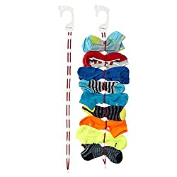 SockDock 2 Pack Sock Laundry Helper, Storage Hangers, Closet Organiser, Easy Clips, Locks Paired Socks, Wash and Dry w/o Tie, Mesh Bag, Bin, Basket, Drawer, Divider or Container, Home or Travel (Red)