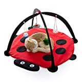 Tofern Multi-Function Pet Kitten Cat Interactive Activity Soft Fleece Folding Toy Mat Bed Hammock Tent With Hanging Mouse Bell Balls, red