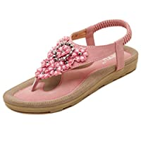 BELLOO Ladies Comfy Beach Sandals Rhinestone Beads Flat Shoes, Pink UK 3