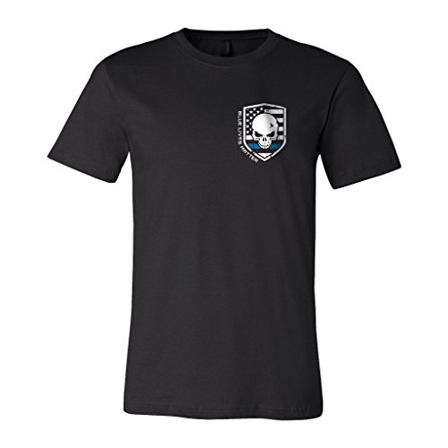 Grossbull Blue Lives Matter Police T-Shirt Thin Blue Line, aBlack, M (Double-knit A-line)
