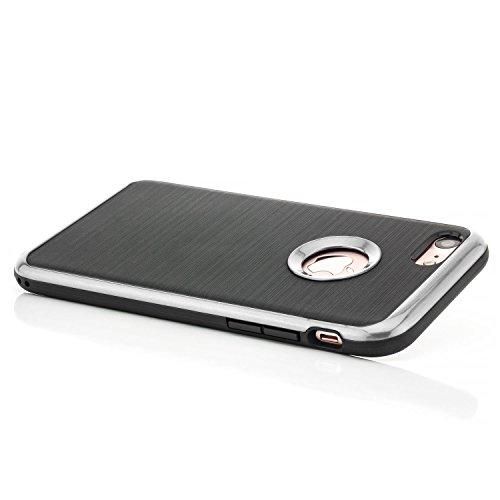 iPhone 8 / iPhone 7 Hülle TPU Silikon Case [Hybrid Cover] Slim Silikonhülle Backcover Schale + Rahmen mit extra Kantenschutz Brushed Look Schwarz-Silber Schwarz-Silber
