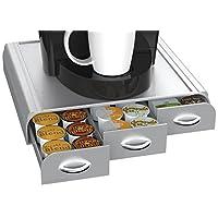 خزانة انكور بثلاثة ادراج لحفظ كبسولات القهوة مع حافظة كيه كاب متوافقة مع كبسولات دولشي غستو وكوفي بين اند تي ليف من مايند ريدر 12.86 x 13.46 x 3.25 TRAY6-SIL