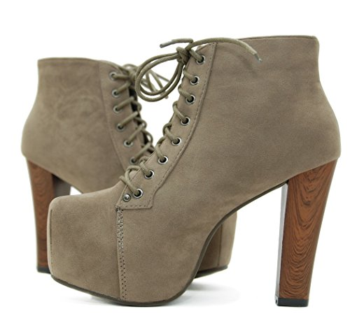 Kayla Shoes Plateau Stiefeletten mit Absatz in Holz Optik