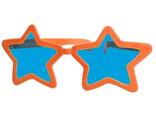 Alsino Funbrille Jumbo Partybrille Riesenbrille Spaßbrille Stern Karneval Fasching Party Brille F-050, wählen:orange