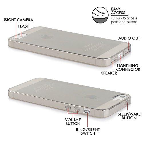 IPhone SE / 5s / 5 Case - Schutzhülle - Simplex in anthrazit - Ultra dünne iPhone Hülle aus flexibelen TPU - Slimcase - Durchsichtiges iPhone Hülle aus Silikon von QUADOCTA® anthrazit