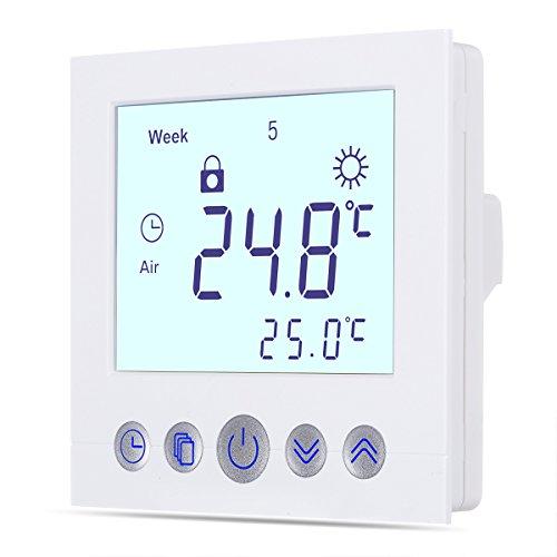 WELQUIC Raumthermostat Touchscreen Temperaturregler Plug-In Thermostat für Fußbodenheizung Wasserheizung Wandheizung mit Hintergrundbeleuchtung und LCD-Display, C16. Weiß (Manuelle Thermostat)