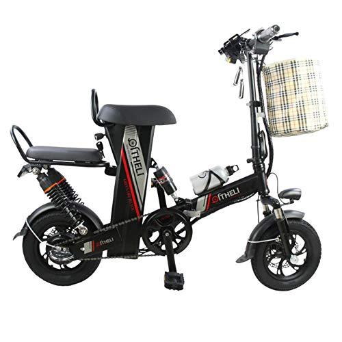 Suyanouz Mini Bici Elettrica da 12 Pollici Potere Pieghevole Scooter Adulto Piccolo Generazione di Motori Bicicletta Elettrica Batteria al Litio Bici Elettrica, Nero 25Ah Battery, B