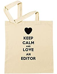 Keep Calm And Love An Editor Bolsa De Compras Playa De Algodón Reutilizable Shopping Bag Beach Reusable
