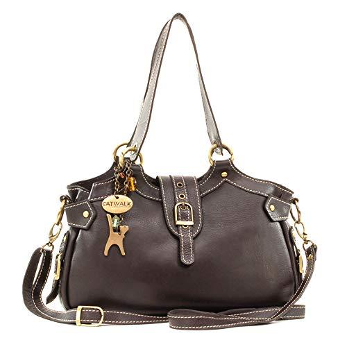 Catwalk Collection Handbags - Leder - Umhängetasche/Schultertasche - Handtasche mit Schultergurt - NICOLE - Braun -