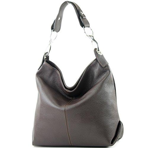 modamoda de - T168 - ital Schulter-/Umhängetasche aus Leder, Farbe:Dark Chocolate -