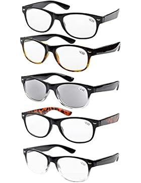 5-pack Primavera Cerniere anni 80 occhiali da lettura Includono Sun Lettori