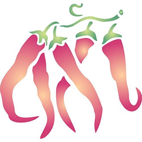 Chili Pepper Schablone–12,5x 12,5cm–wiederverwendbar Obst Gemüse Küche Wand Schablone–Vorlage, auf Papier Projekte Scrapbook Tagebuch Wände Böden Stoff Möbel Glas Holz etc.