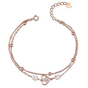 Caimeytie Mädchen Armbänder Herz Glitzer Sterling Silber Rosé-Vergoldung verstellbar