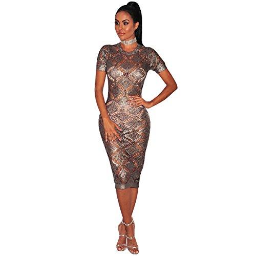 Festlich Partykleid | Damen Kleid | Kleid Kleid Frauen in Europa und Amerika | Rose Gold Strickkleid...