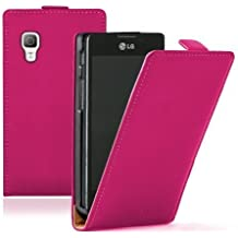 Membrane - Ultra Slim Rosa Funda Carcasa para LG Optimus L5 II (E450 / E460) - Flip Case Cover + 2 Protector de Pantalla