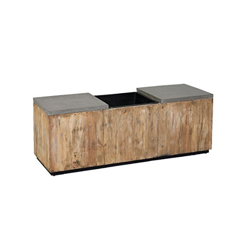in 1 Sitzbank mit Pflanzkübel aus Holz, 2 Sitzer Gartenbank Kiefer/Pflanzgefäß, Einsatz, Holzbank, integriertem Blumenkübel, Natur, 129 x 43,5 x 47 cm (2-zoll-kunststoff-töpfe)