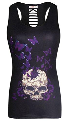 op Butterfly Totenkopf Tank Tops, Schwarz Unterhemd (Angel Halloween-outfits)
