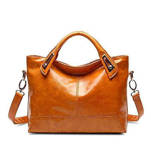 TTZZ Damen ölwachs Leder Designer Handtasche hohe qualität umhängetasche Handtasche Mode Marke pu Leder Tasche gelb 32 * 25 * 7 cm Betsey Johnson-shop