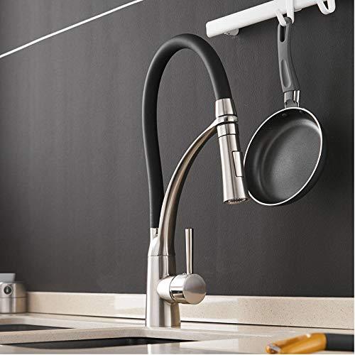 Wasserhahn Küchenmischer LED-Licht Waschbecken Wasserhahn Messing Nickel Gebürstet Hahn Küchenarmaturen Heiß Kalt Deck Montiert Bad Mischer Ta -