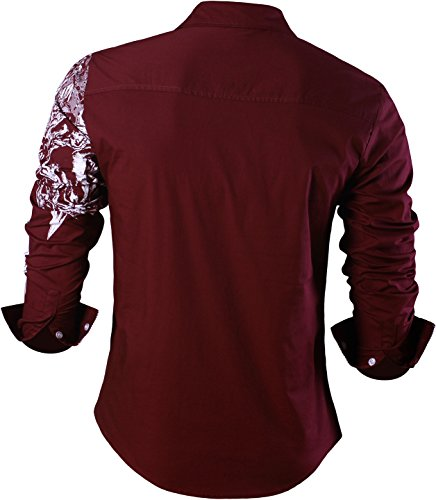 Sportrendy Herren Freizeit Hemden Slim Button Down Long Sleeves Dress Shirts Tops MFN2_JZS041 JZS042_WineRed