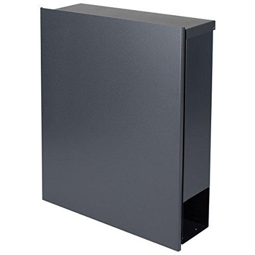 MOCAVI Box 111R Design-Briefkasten mit Zeitungsfach anthrazit-grau (RAL 7016) Wandbriefkasten, Schloss links, groß, Aufputzbriefkasten dunkelgrau, Postkasten anthrazitgrau modern mit Zeitungsrolle - 5