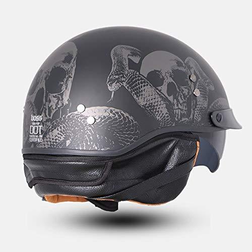Berrd Mezzo casco per moto retrò in vetroresina con ombreggiatura interna Estate e inverno con sciarpa Casco sciarpa serpente M