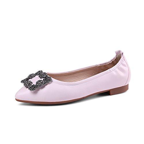 AllhqFashion Damen Blend-Materialien Rein Ziehen Auf Spitz Zehe Pumps Schuhe Pink
