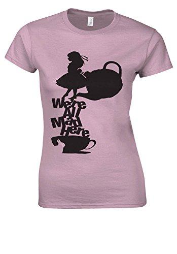 Disney Alice in Wonderland Tea All Mad Here Light Pink Women T Shirt Top-XXL (Alice Light T-shirt Womens)