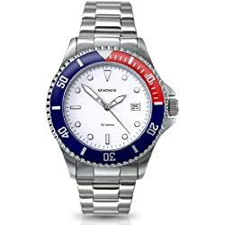 Sekonda Men's Quartz Watch with White Dial Analogue Display and Silver Stainless Steel Bracelet 3079.22