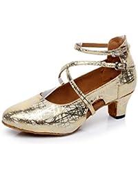 JSHOE Zapatos De Baile De Mujer Cuero Latino/Chacha/Samba/Moderno/Zapatos De Baile De Jazz,GoldHeeled5.5cm-UK4...