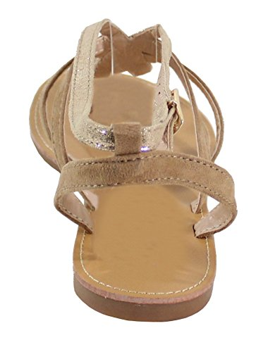 By Shoes Sandale Tressée Style Daim et Cuir Brillant - Femme gold