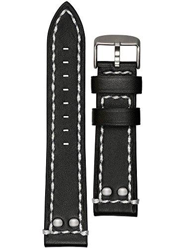 Astroavia Uhrenarmband weiches Kalbsleder schwarz Edelstahl Dornschließe 22mm L2