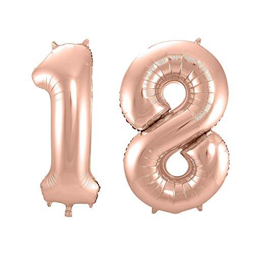 QSUM Folienballons 18 Rose Gold Riesen Zahlen Luftballons   40
