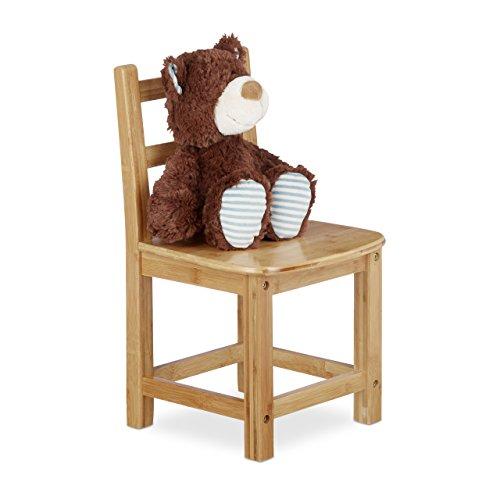 Relaxdays Kinderstuhl RUSTICO aus Bambus, Für Jungen und Mädchen, Kinderzimmer Stuhl, HBT: ca. 50 x 28,5 x 28 cm, natur