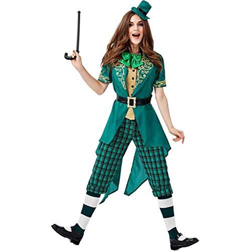 Irish Frauen's Kostüm - CS-LJ Erwachsene Halloween-Kostüm, weibliche irische Elf Cosplay, St.Patrick Karnevalskostüm mit Tops + Hosen + Hut + Gürtel + Fliege + Socken Allerheiligen (Size : M)